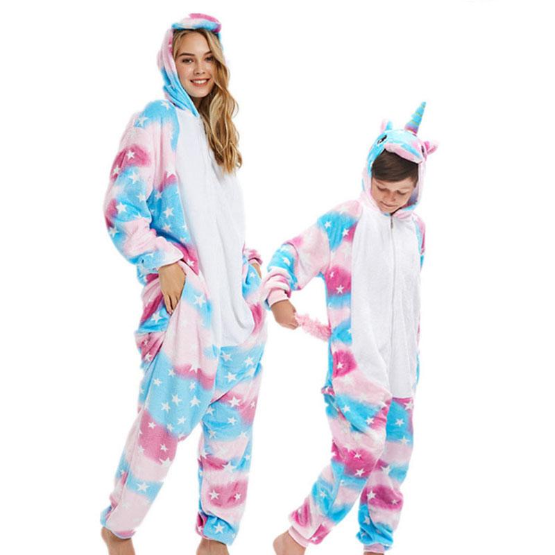 Family Kigurumi Pajamas Pink Stars Unicorn Animal Onesie Cosplay Costume Pajamas For Kids and Adults