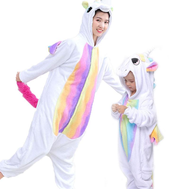 Family Kigurumi Pajamas Rainbow and White Unicorn Animal Onesie Cosplay Costume Pajamas For Kids and Adults