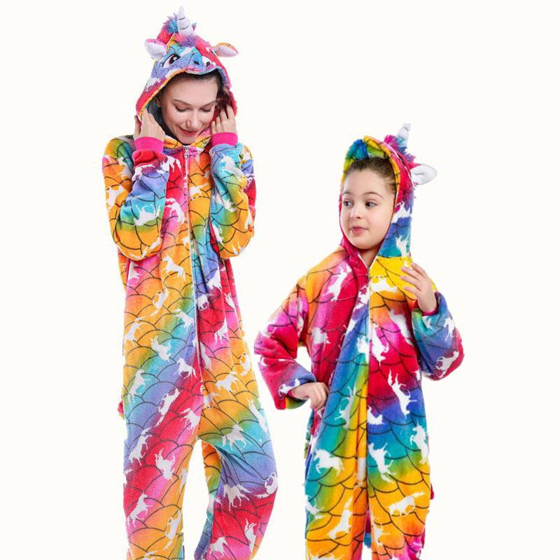 Family Kigurumi Pajamas Rainbow Unicorns Animal Onesie Cosplay Costume Pajamas For Kids and Adults