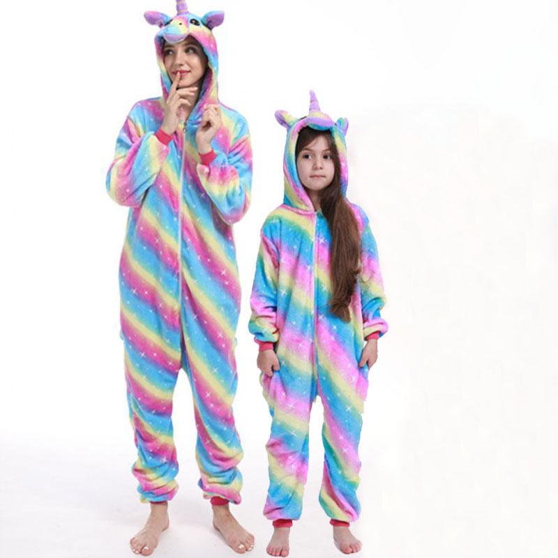 Family Kigurumi Pajamas Stripes Rainbow Stars Unicorn Onesie Cosplay Costume Pajamas For Kids and Adults