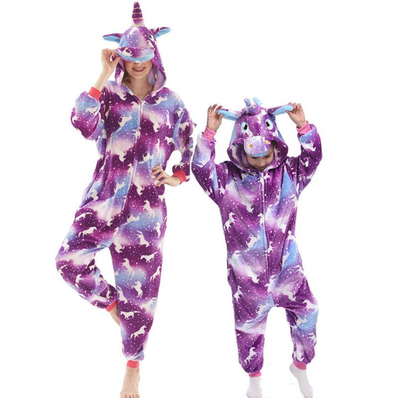 Family Kigurumi Pajamas Purple Horse Animal Onesie Cosplay Costume Pajamas For Kids and Adults