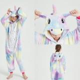 Family Kigurumi Pajamas Sequins Stars Blue and Purple Unicorn Onesie Cosplay Costume Pajamas For Kids and Adults