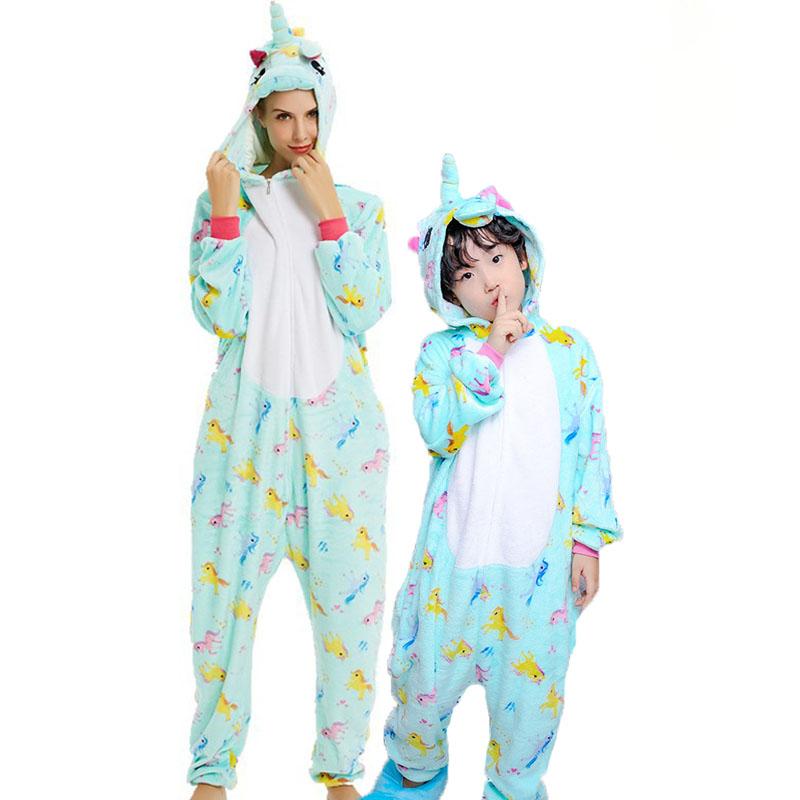 Family Kigurumi Pajamas Lights Green Rainbow Unicorns Animal Onesie Cosplay Costume Pajamas For Kids and Adults