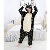 Family Kigurumi Pajamas Black Yellow Moons Stars Unicorn Animal Onesie Cosplay Costume Pajamas For Kids and Adults