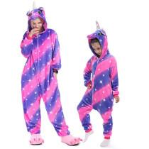 Family Kigurumi Pajamas Pink and Purple Stars Unicorn Animal Onesie Cosplay Costume Pajamas For Kids and Adults