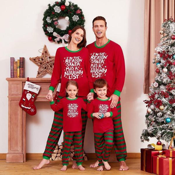 Christmas Family Matching Sleepwear Pajamas Sets Red Slogan Top and Green Stripes Pants