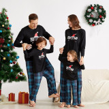 Christmas Family Matching Sleepwear Pajamas Sets Hohoho Red Christmas Hat Top and Navy Plaids Pants