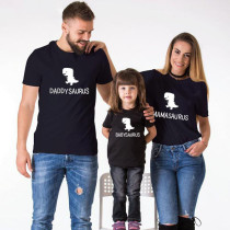 Matching Family Prints Little Dinosaur Letter Pure Color Family T-Shirts