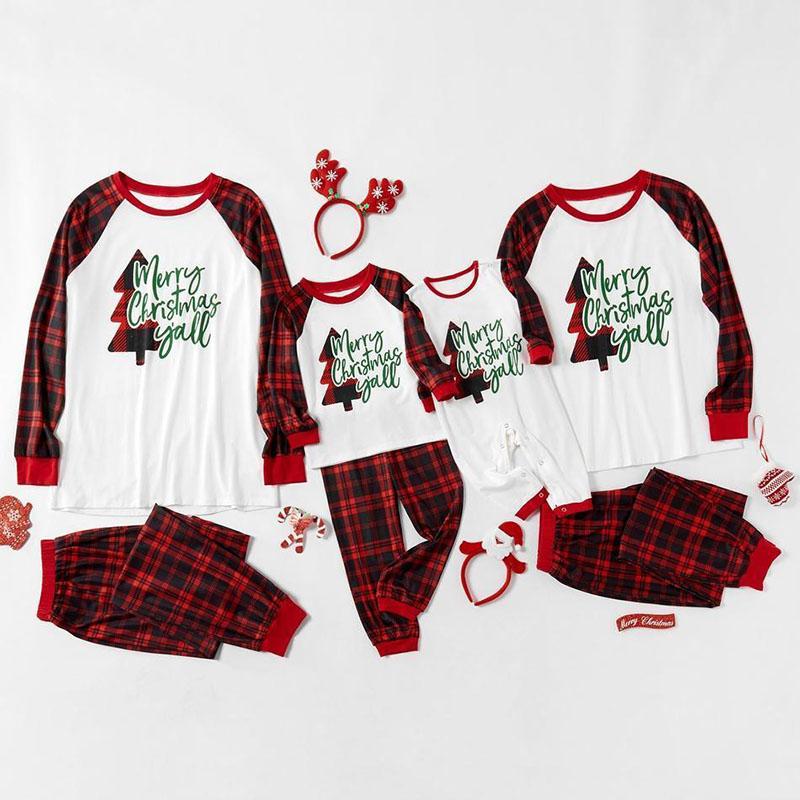 Christmas Family Matching Sleepwear Pajamas Sets Christmas Tree Letter and Plaid Pants