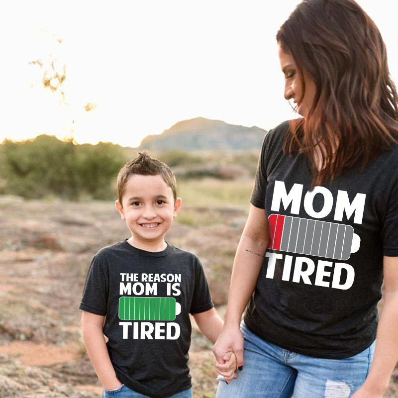 Matching Family Prints Battery Letter Mom And Me T-Shirts