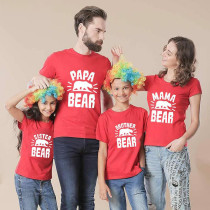 Matching Family Prints White Bear Letter Family T-Shirts