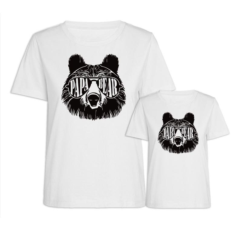 Matching Dad and Me Prints Cool Bear Family T-Shirts