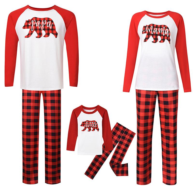 Christmas Family Matching Pajamas Sets Red Plaid Bear and Plaid Pant Family Pajamas Sets