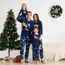 Christmas Family Matching Pajamas Prints Blue Elk Navy Family Pajamas Sets