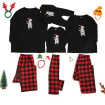 Christmas Family Matching Pajamas Sets Letter Bear Prints Tops and Plaid Pants