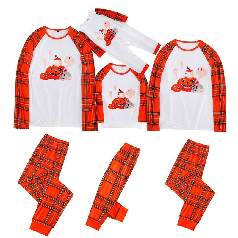 Halloween Family Matching Pajamas Prints Pumpkin Ghost Prints and Plaid Pants
