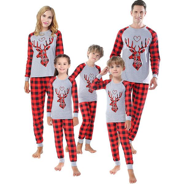 Christmas Family Matching Pajamas Red Heart Deer Head and Plaid Pant Family Pajamas Sets