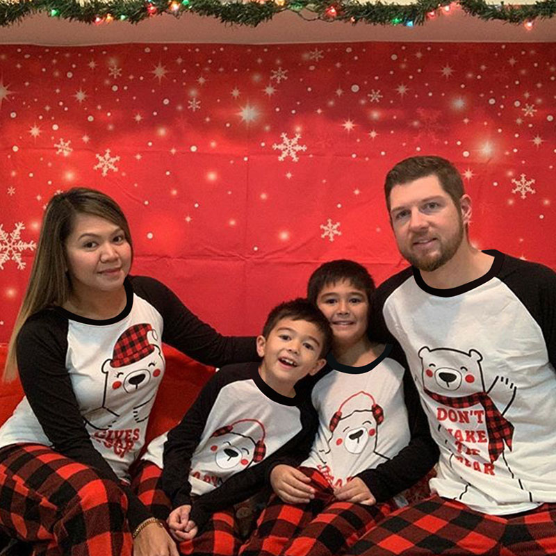 Christmas Family Matching Pajamas Sets White Bear Slogan Prints Tops Plaid Pants