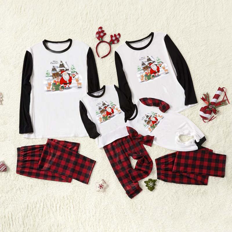 Christmas Family Matching Pajamas Prints Christmas Santa and Plaid Pant Family Pajamas Sets