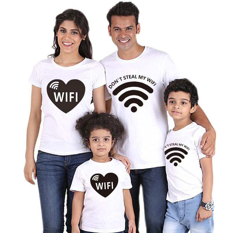 Matching Family Prints Heart Wifi Family T-Shirts