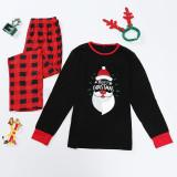 Christmas Family Matching Pajamas Santa Slogan Prints Tops and Plaid Pants Family Pajamas Sets