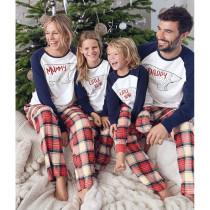 Christmas Family Matching Sleepwear Pajamas Sets White Bear Letter Top and Plaid Pants Family Pajamas Sets