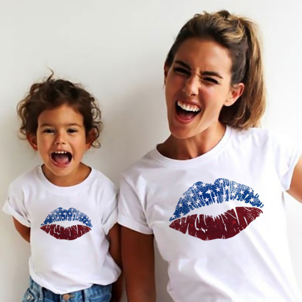 Matching Family Prints America U.S.A Lip Creativity  Mom And Me T-Shirts
