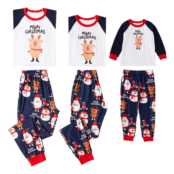 Christmas Family Matching Sleepwear Pajamas Christmas Elk Tops and Santa Claus Pant Family Pajamas Sets