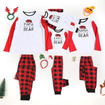 Christmas Family Matching Pajamas Red Plaids Bear Papa Mama Tops and Plaid Pants