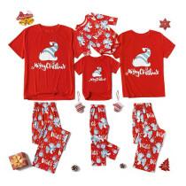 Christmas Family Matching Pajamas Christmas Santa Hat Red T-shirt Top and Unicorn Pants Sets