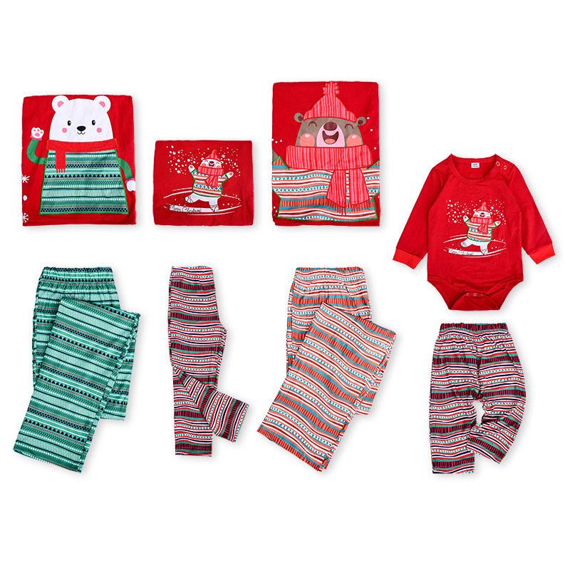 Christmas Family Matching Pajamas Cartoon Bear Tops and Stripe Pants Family Pajamas Sets