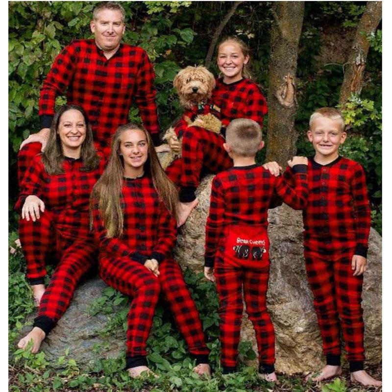 Christmas Family Matching Pajamas Sets Bear Cheeks Prints Red Plaid Jumpsuits