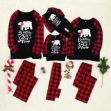 Christmas Family Matching Pajamas White Bear Prints Letter and Plaid Pant Family Pajamas Sets
