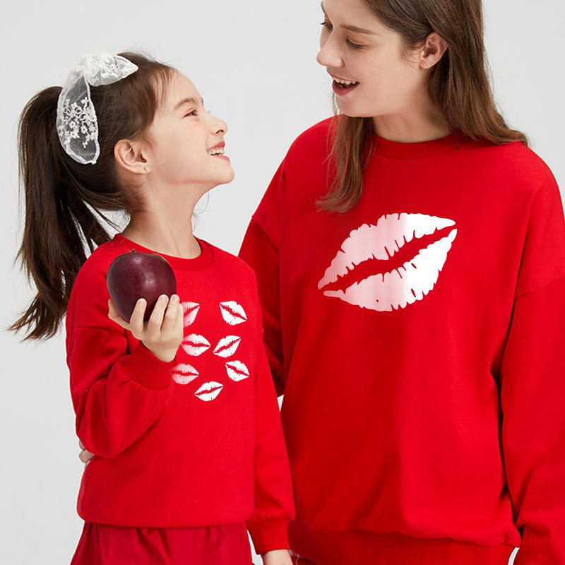 Matching Family Prints Lip Pattern Mom And Me Pure Color Sweatshirt