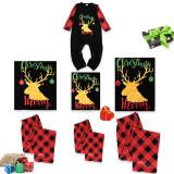 Christmas Family Matching Pajamas Gold Elk Letter Prints and Plaid Pant Family Pajamas Sets