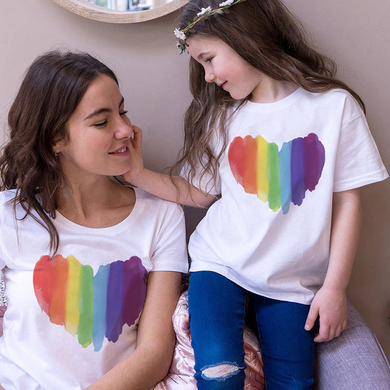 Matching Family Prints Rainbow Heart Style Mom And Me T-Shirts