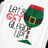 Christmas Family Matching Sleepwear Pajamas Let's Get ELFED Up Top and Stripes Pants