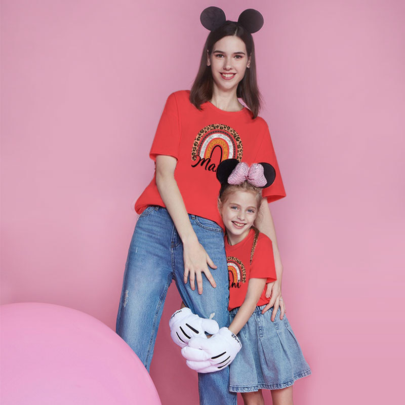 Matching Family Prints Heart Rainbow Pattern Letter Mom And Me T-Shirts