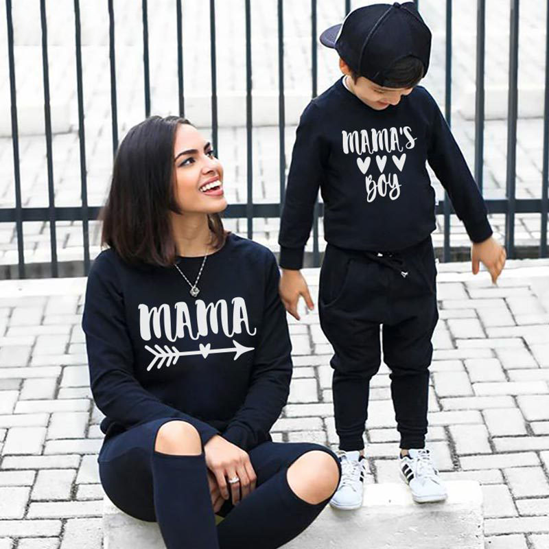 Matching Family Prints Heart Pattern Letter Mom And Kids Sweatshirts Tops
