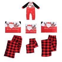 Christmas Family Matching Pajamas Sets Santa Elk Prints Tops and Plaid Pants