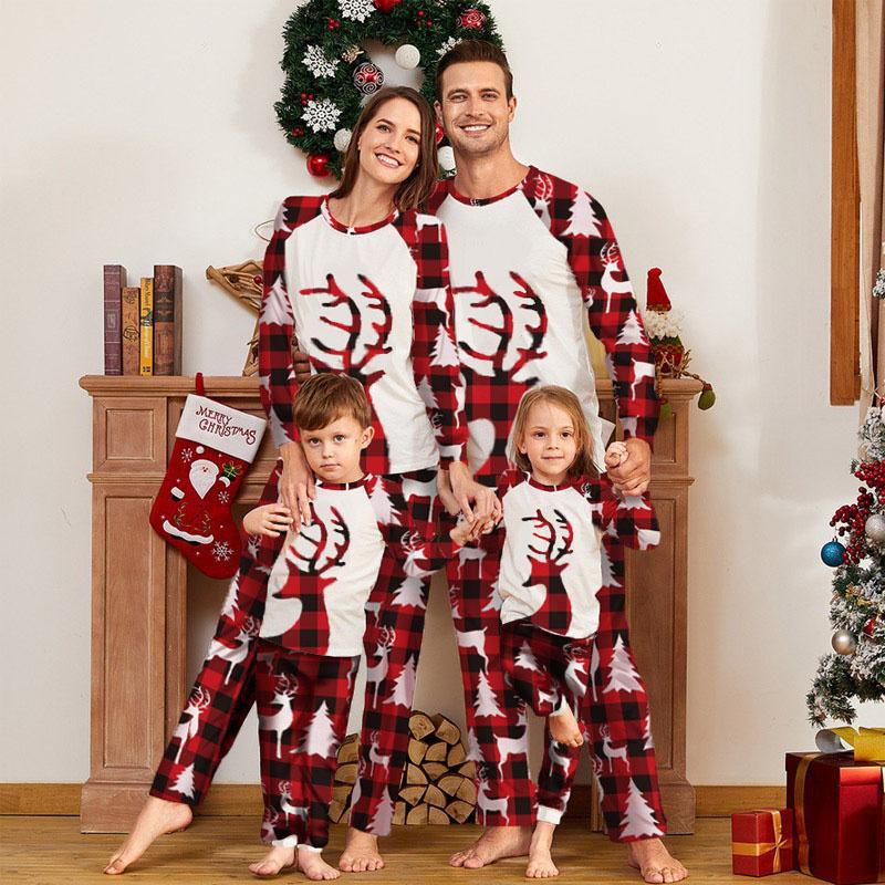 Christmas Family Matching Pajamas Plaid Elk and Red Christmas Tree Pant Sets
