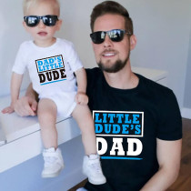 Matching Dad and Me Little Dad Dude Slogan Family T-Shirts