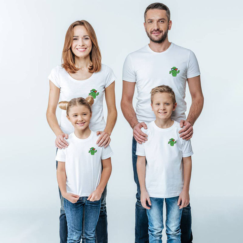 Matching Family Prints Cartoon Cactus Pure Color Family T-Shirts
