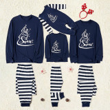 Christmas Family Matching Pajamas Set Let It Snow Slogan Tops and Navy Stripes Pants