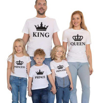 Matching Family Prints Crown King Queen Prince Princess Letter Pure Color Family T-Shirts