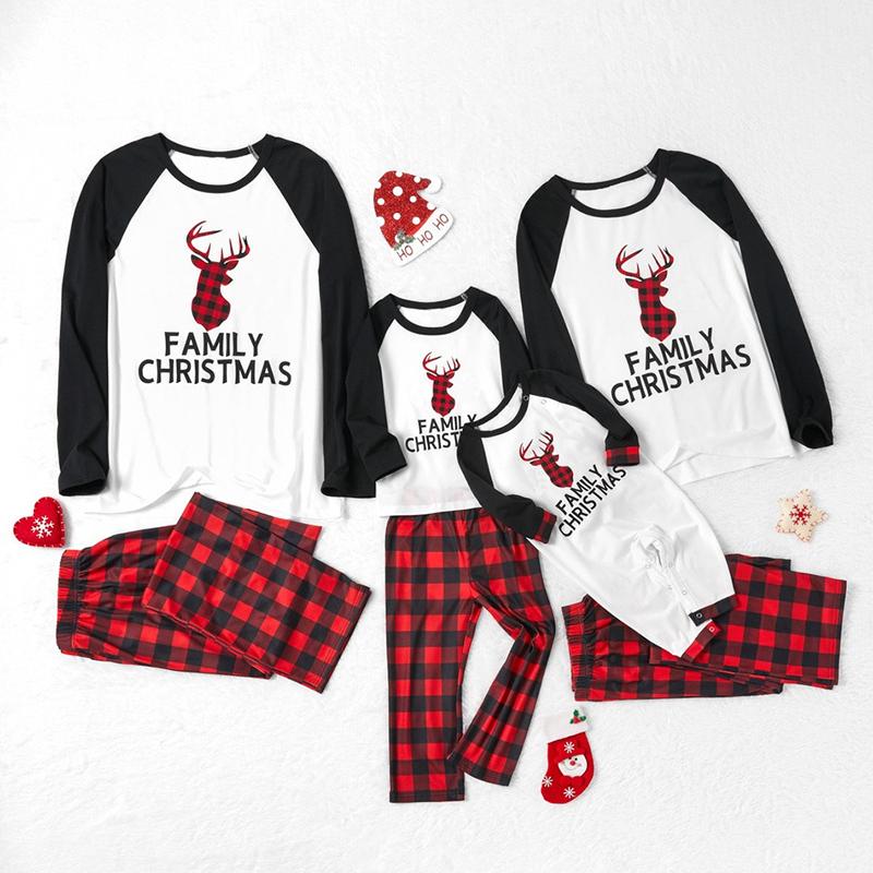 Christmas Family Matching Sleepwear Pajamas Red Plaids Elk Head Family Christmas Tops And Pants Pajamas Sets
