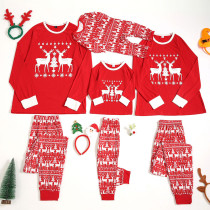 Christmas Family Matching Pajamas White Elk Snowflake Red Family Pajamas Sets