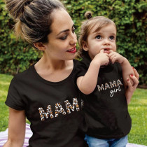 Matching Family Prints Leopard MAMA Mom And Me T-Shirts