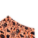 Halloween Family Matching Pajamas Sets Pumpkin Black Bat Luminous Effect Tops and Bat Pants