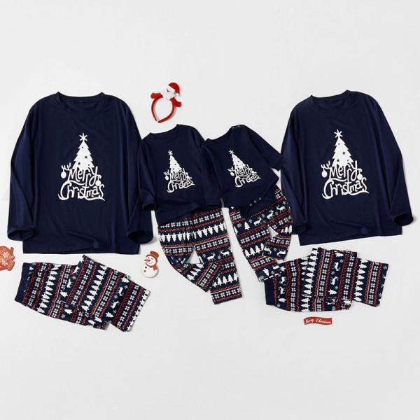 Christmas Family Matching Sleepwear Pajamas Merry Christmas Tree Tops and Pant Sets